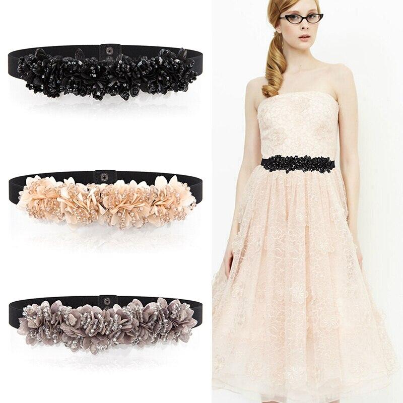 New Cummerbunds Belt Women's Chiffon Diamond Decoration Waist  Edition Dress Son  Joker Sweater Fashion