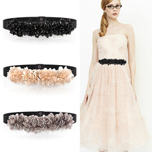 sipaiya Cummerbunds belt Women's chiffon diamond decoration waist edition dress son