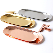 Nordic Rose Gold Metal Storage Tray Ins Luxurious Brass Gold Silver Oval Dotted Fruit Plate Jewelry Display Tray for Home Decor