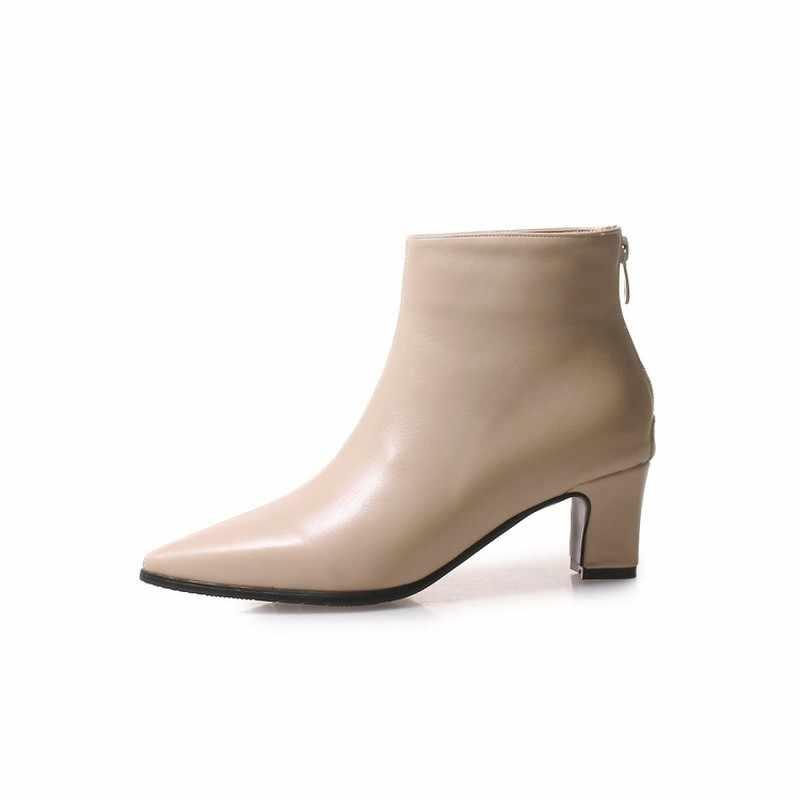 Kadın botları sonbahar kış Med topuk sıcak Pu sivri burun Zip ayak bileği Chelsea ayakkabı 2018 seksi moda rahat bej yeşil boyutu 34-48