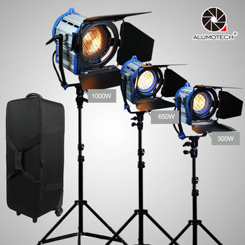 ALUMOTECH As ARRI Dimmer Built-in 300W+650W+1000W Fresnel Tungsten Spot Light+Air Cushion Standx3+Soft Case Kit For Studio Photo