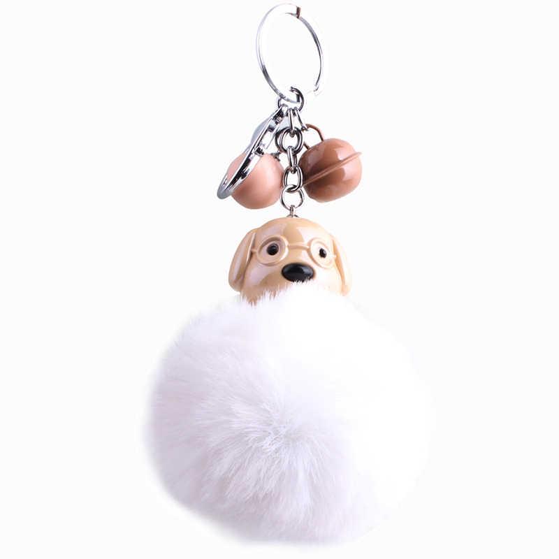Cão bonito Dos Desenhos Animados Chaveiro Chaveiro Pompons Fofo Bola Pompom Pele Anel chave Do Carro Chaveiro Saco Titular Liga Sinos Charme Jóias