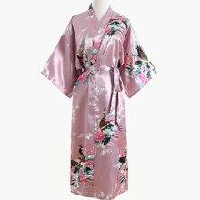 02ed70d84f Rosa Hochzeit Braut Brautjungfer Blumen Robe Satin Rayon Bademantel  Nachthemd Frauen Kimono Yukata Lange Nachtwäsche Nachtwäsche
