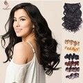 Волнистые Клип В Человеческих Волос # 1B Перуанский Человеческие Волосы Клип В Расширениях Афроамериканца Клип В Человеческих Волос расширения