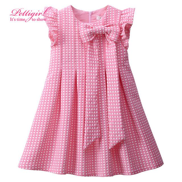 Pettigirl diseñador summer style pink polka dots niñas vestido de la princesa plisada vestido del nudo del arco del bebé boutique de ropa al por menor