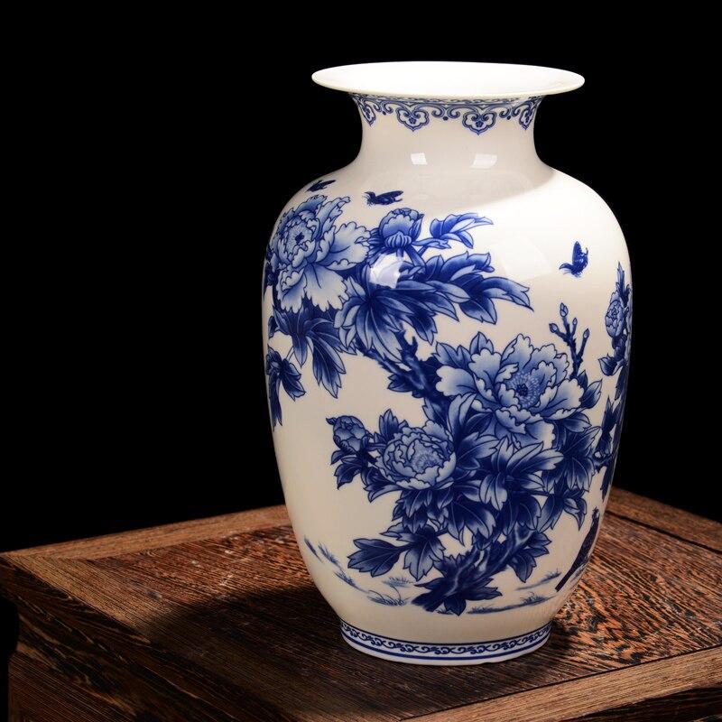 Fine China Bone Porcelain Blue And White Peony Decorated High Quality Ceramic Vases