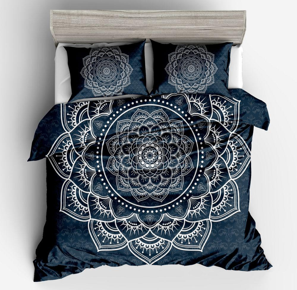 Duvet Cover Black geometric pattern simple wind 2/3pcs British Style Family student dormitory Quilt cover pillowcase
