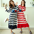 100% Vestido de Rayas de Algodón de Dibujos Animados Camisón de Las Mujeres Lindo Un tamaño de Corea de manga larga Homewear Nightclothes Regalo Novia