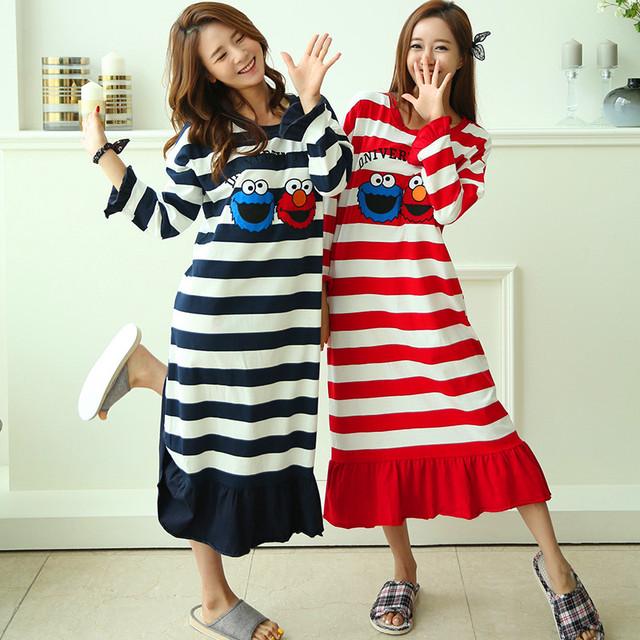 Listras 100% Algodão Vestido Vestido de Camisola Das Mulheres Dos Desenhos Animados Bonito One size Longa-Coreano de mangas compridas Homewear Nightclothes Presente Namorada