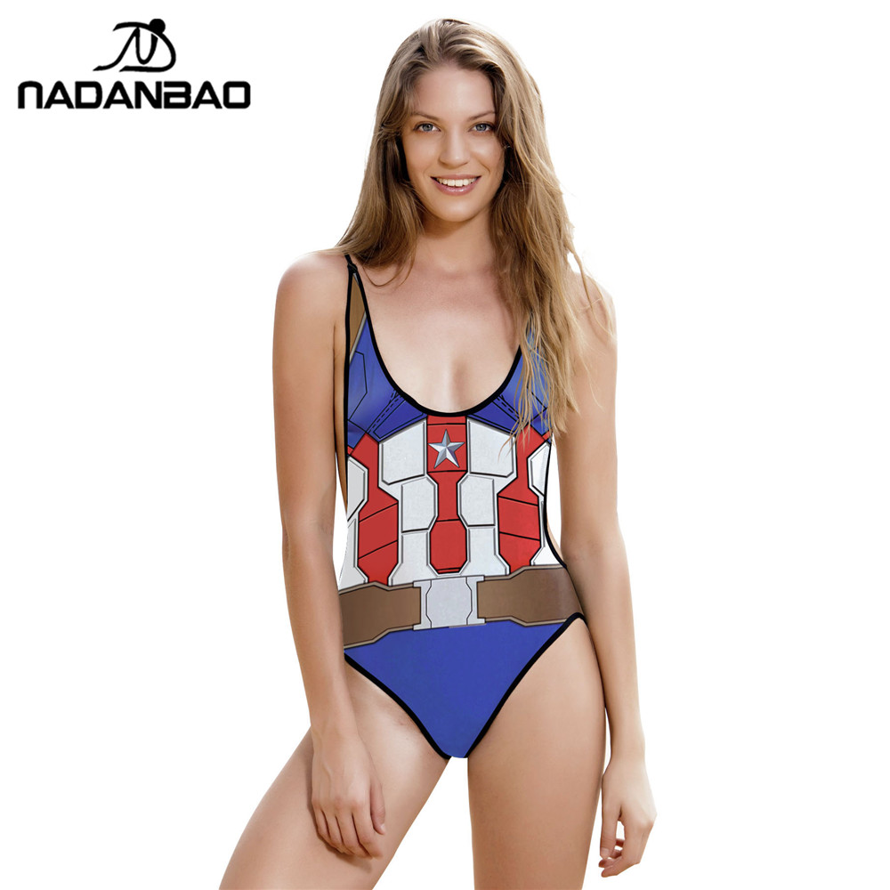 2017 Sexy Captain America Star One Piece Swimsuit Bandage Backless Suit for Women Swimwear Monokini Beach Wear Maillot de bain