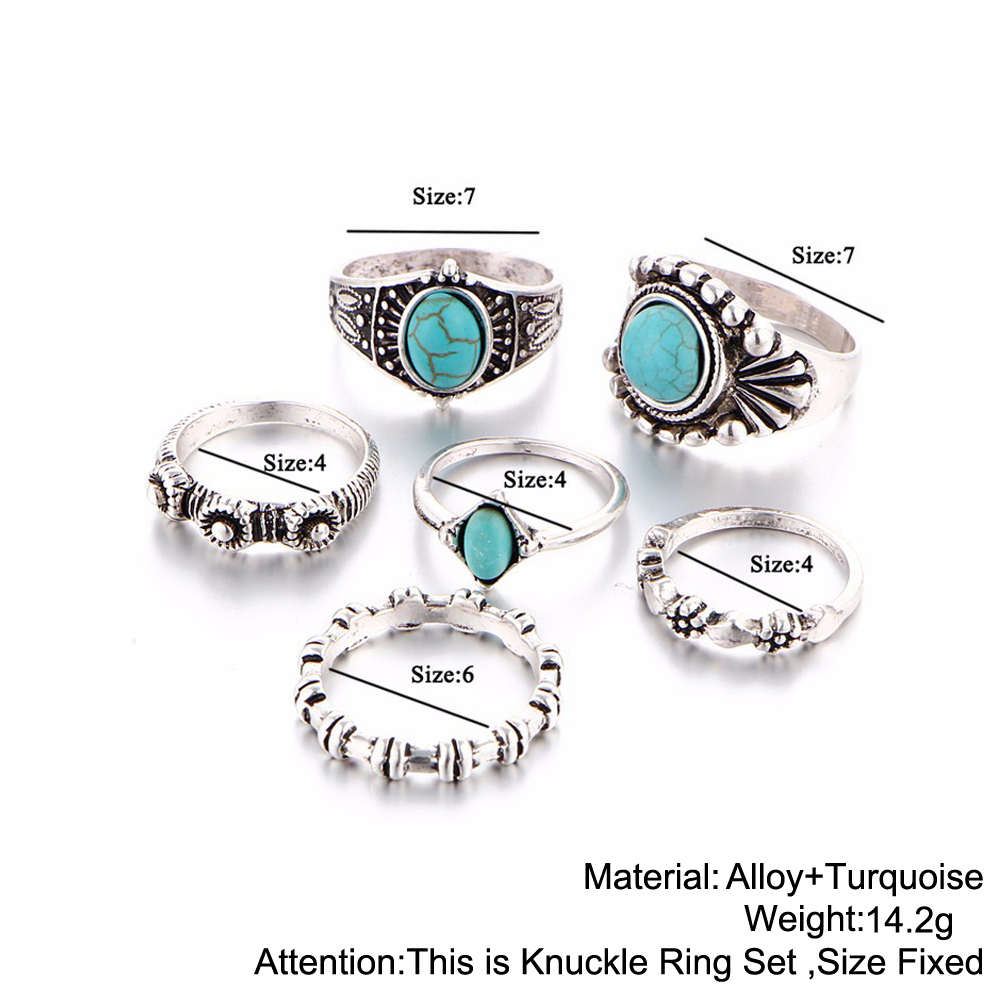HTB1vh3rRXXXXXXNaXXXq6xXFXXXY 6-Pieces Boho Ethnic Vintage Turquoise/Opal Knuckle Ring Set For Women - 2 Styles