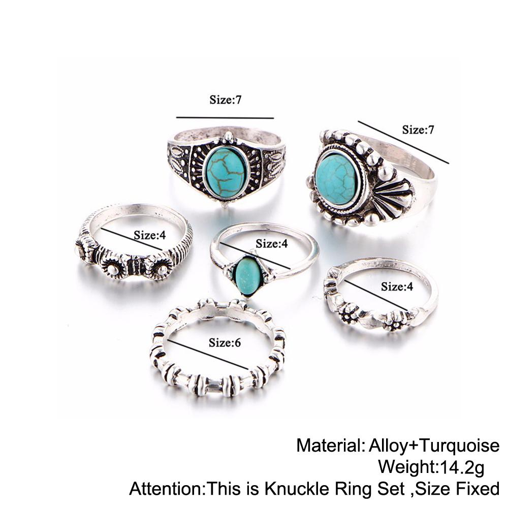 HTB1vh3rRXXXXXXNaXXXq6xXFXXXY 6-Pieces Boho Ethnic Vintage Turquoise/Opal Knuckle Ring Set For Women - 2 Styles