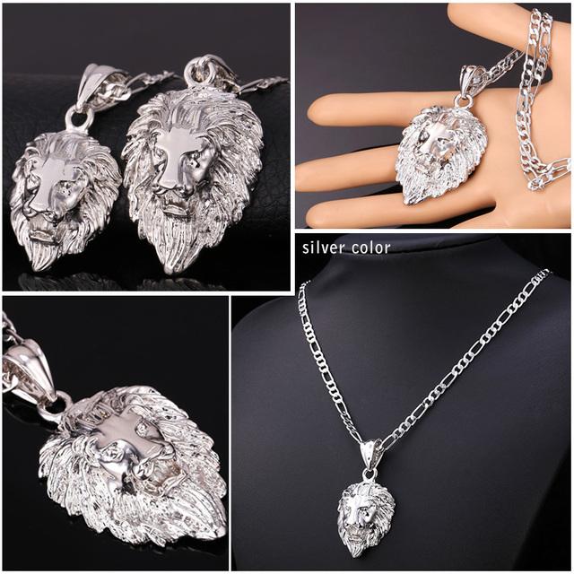 U7 Hip Hop Big Lion Head Pendant & Necklace Animal King Vintage Gold/Silver Color Hiphop Chain For Men/Women Jewelry Gift P333