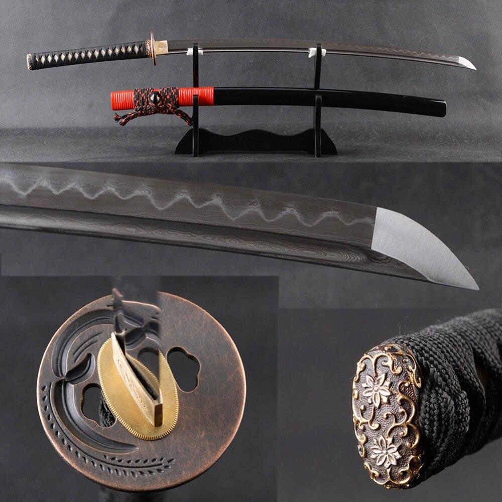 Sharp Japonais Samurai Katana Épée En Acier Plié Clay Trempé Espada Pleine Saveur De Coupe Pratique Longue Épée En Métal Décor À La Maison