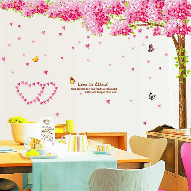 Romantic Sakura Flower Wall Art Furniture Home Decoration Large Vinyl Wall  Decals Kids Room Love Glass Mirror Wall Stickers In Wall Stickers From Home  ... Part 78