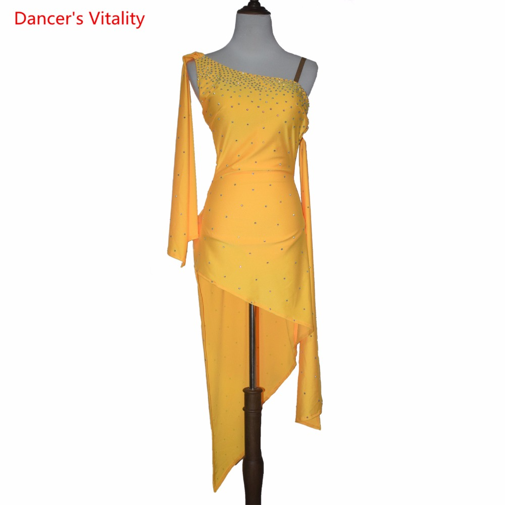 Sleeveless and single shoulder irregularity dress women latin dance dress sexy Backless dress for female performance clothes