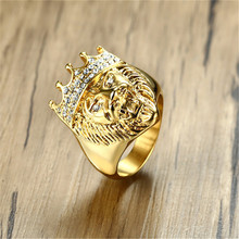 HIP HOP Punk Jewelry Stainless Steel Rhinestone Crown Lion Head Gold Ring For men