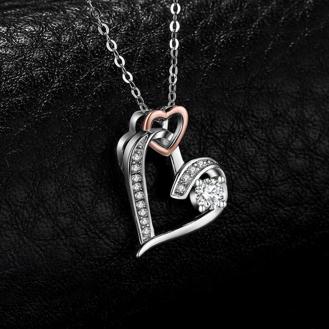 Infinity Heart Pendant Sterling Silver Statement Necklace  2