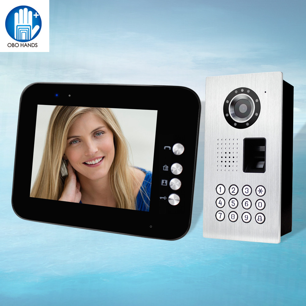 IP54 Waterproof 8 inch TFT LCD Wired Video Intercom System Video Doorphone With IR Fingerprint/ Password Outdoor Camera Doorbell 7 inch video doorbell tft lcd hd screen wired video doorphone for villa one monitor with one metal outdoor unit rfid card panel