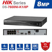 Hik 8ch CCTV Recorder PoE NVR DS-7608NI-K1/8P 8 Channel Embedded Plug&Play  4K Network Video Recorder with 8 PoE Port H 265