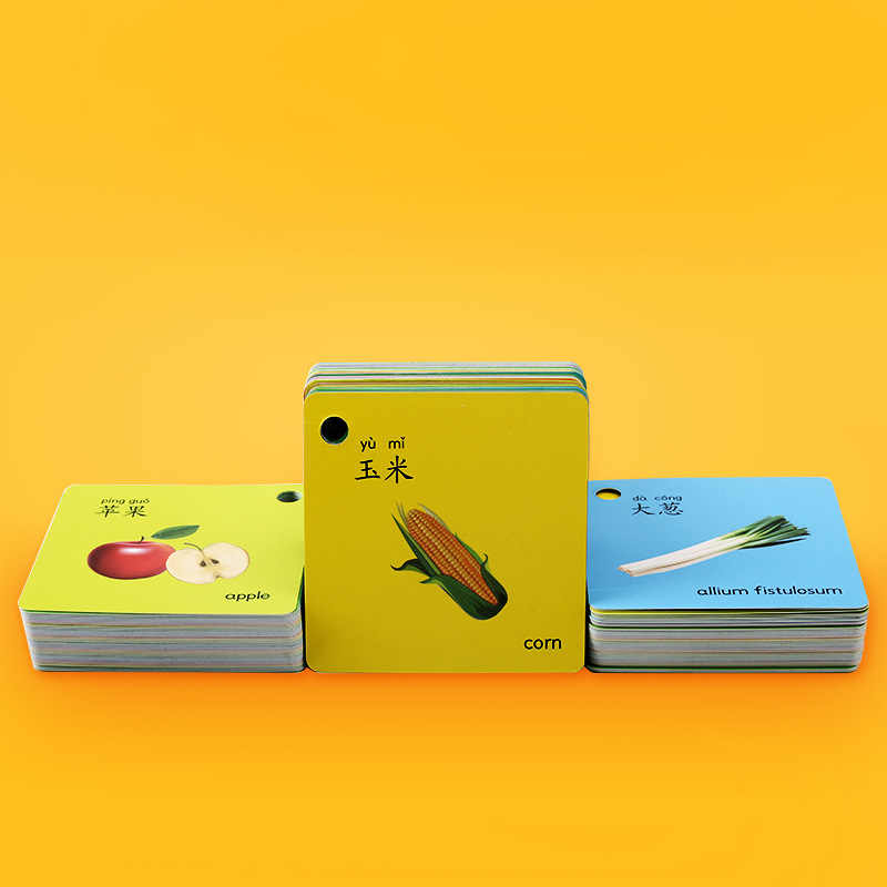 45Pcs/Set  Fruit Vegetable Animal English Flash Words Card Poster  Educational Toys For Children Kids Games Teaching Aids toys