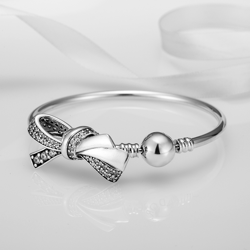 6c606ba4b Aliexpress.com : Buy 2018 Mother Day 925 Sterling Silver Bead Brilliant Bow  Charm Fit Original Women Pandora Bracelet Bangle DIY Jewelry Only Bow. from  ...