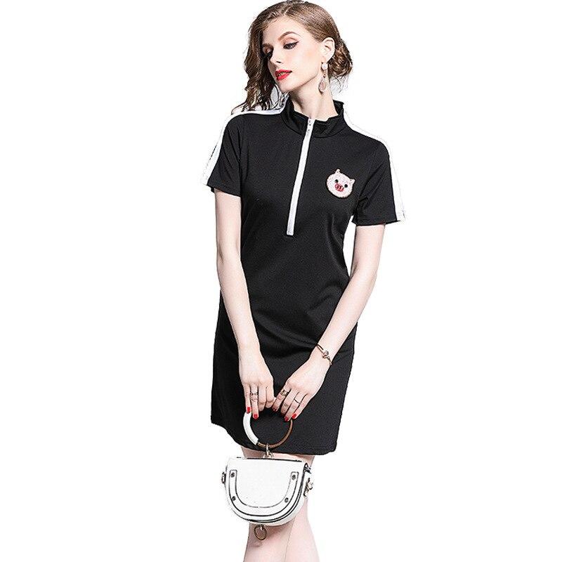 2019 New Foreign Style Collar Dress Short Sleeve Zipper Pig Beaded Dress Female Fresh Sweet Korean Version Of The Step Dress