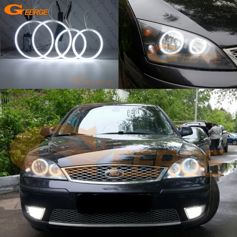 For FORD Mondeo MK3 2001 2003 2004 2005 2006 2007 Excellent angel eyes Ultra bright illumination CCFL Angel Eyes kit Halo Ring for mazda 3 mazda3 2002 2003 2004 2005 2006 2007 ultra bright day light drl ccfl angel eyes demon eyes kit warm white halo ring