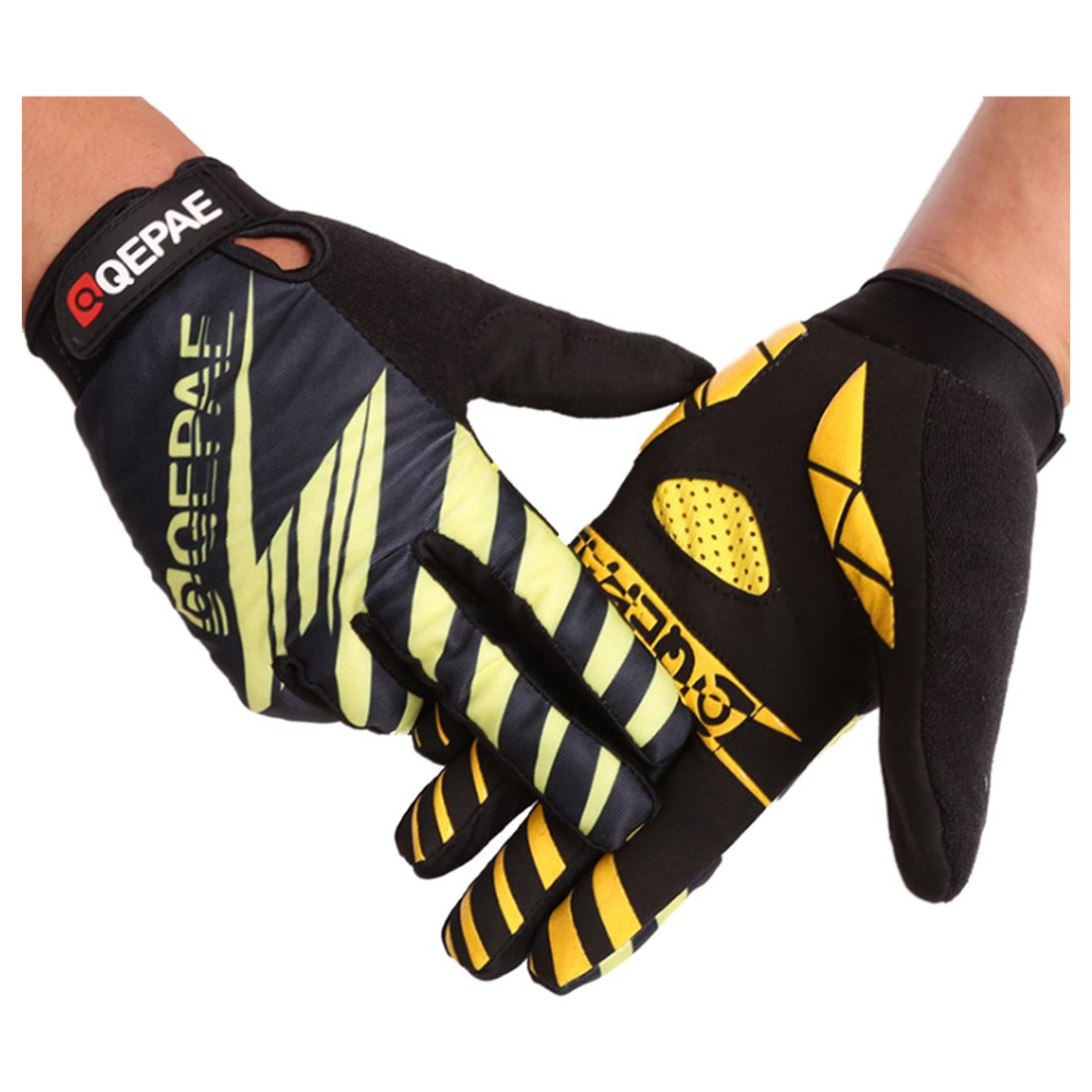 Bike flashlight long finger touch screen riding outdoor motorcycle fitness gloves