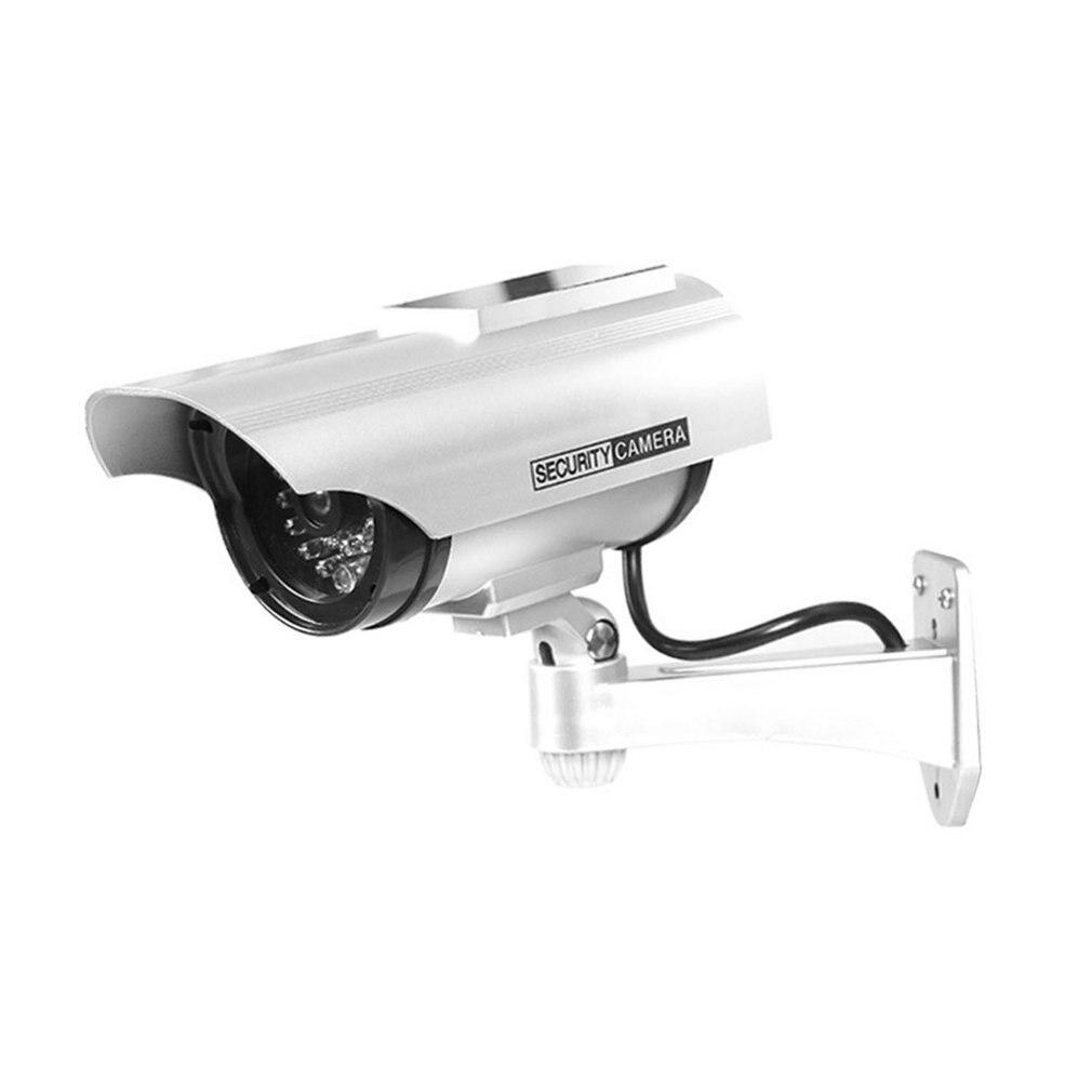 YZ-3302 Водонепроницаемая поддельная камера на солнечных батареях, манекен видеонаблюдения, мигающий красный светодиод, противоугонная видео...