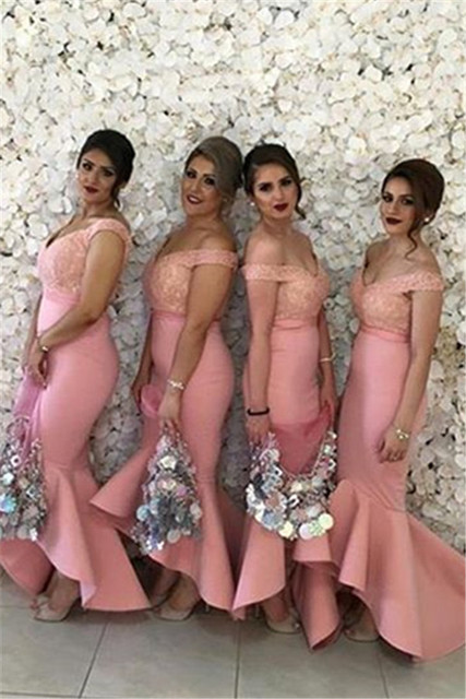 Pink 2019 Cheap Bridesmaid Dresses Under 50 Mermaid V-neck Off The Shoulder Appliques Lace Long Wedding Party Dresses