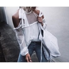 2017 New Spring Summer Halter Neck Cami Cold Shoulder Blouse Bow Long-sleeved Women Sexy See Through Sheer Chiffon Blouse Shirt