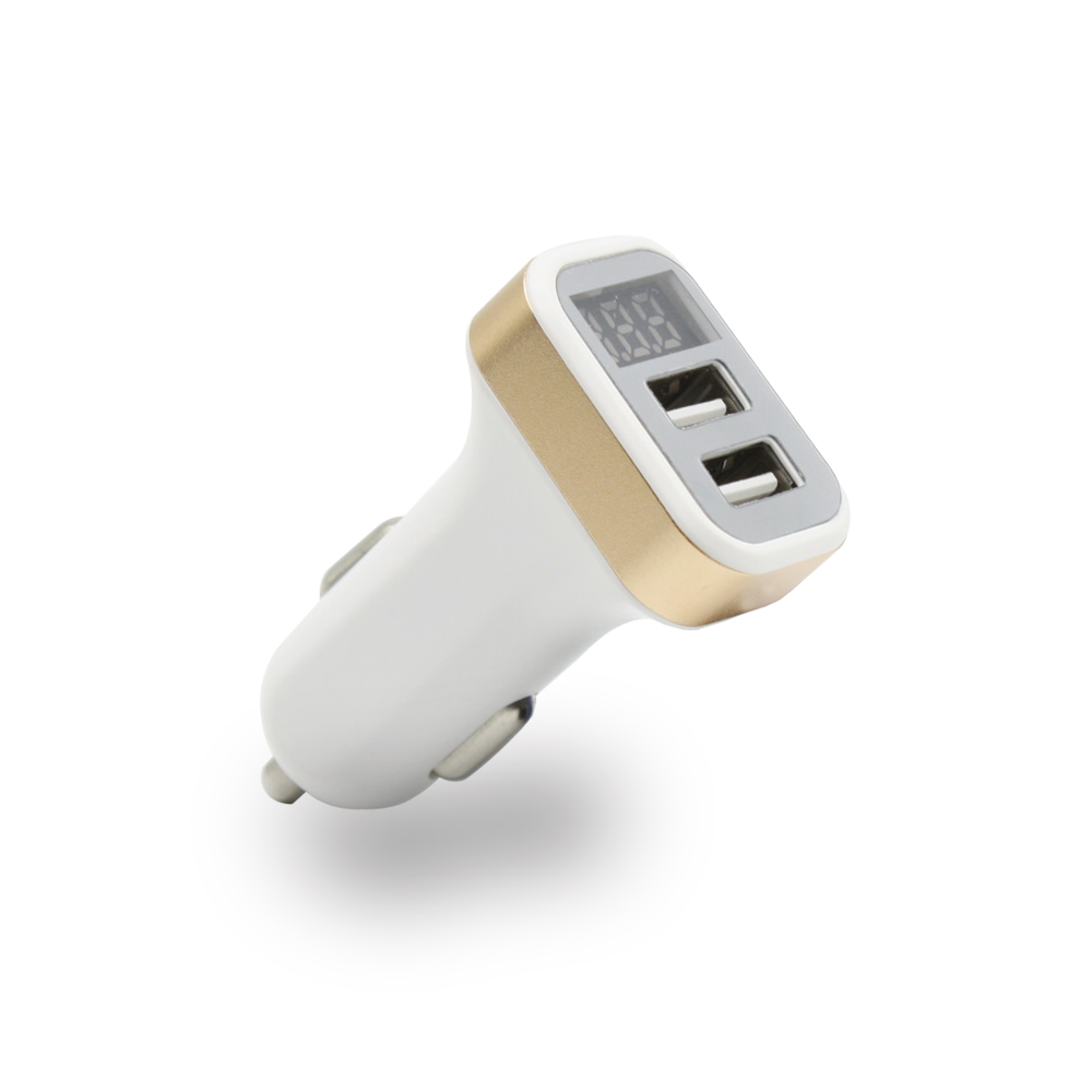 AIXXCO Car Charger Digital Display Dual USB Port for iPhone iPad Samsung Xiaomi Phone Charging Adapter 2.1A Car-charger