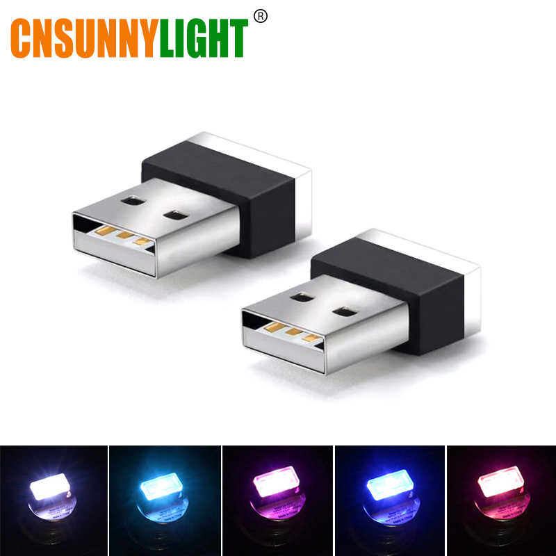 CNSUNNYLIGHT Car LED Atmosphere Light w/ USB Socket Interior Decorative Lamp Emergency Lighting Universal For PC USB Plug Play