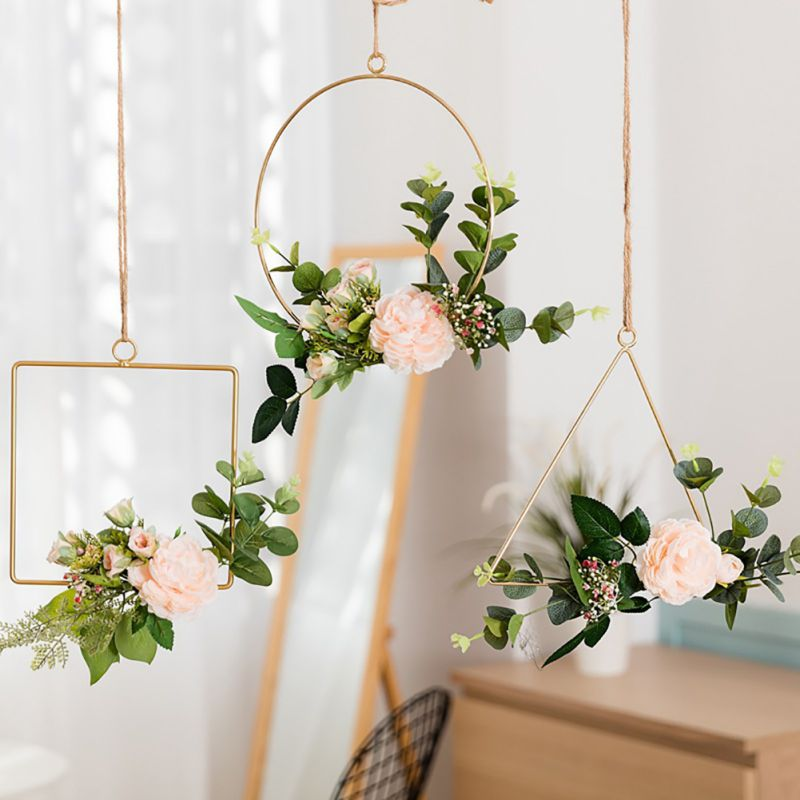 Geometric Metal Wire Wreath Hoop Frame Artificial Flower Garland Wall Hanging Decorations Wedding Party Backdrop in Artificial Dried Flowers from Home Garden