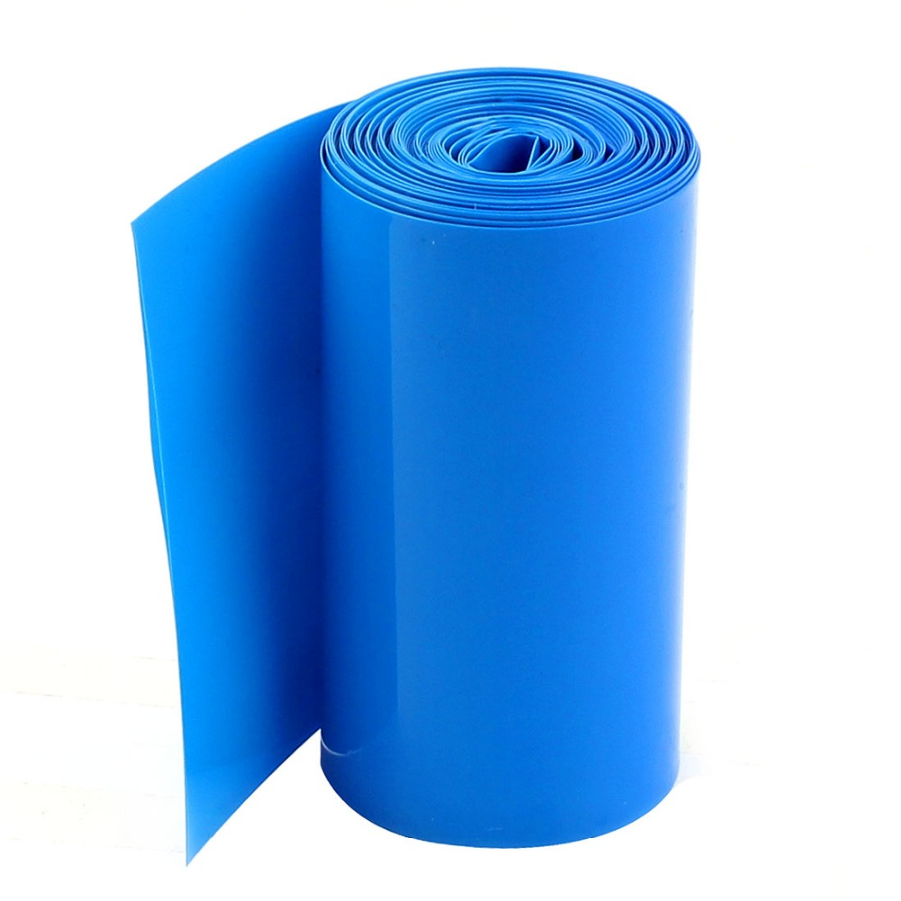 цена Uxcell 2Meters Length 85mm Width PVC Heat Shrinkable Wrap Blue Tubing Tube Assortment Wiring Accessories for 18650 Battery Pack