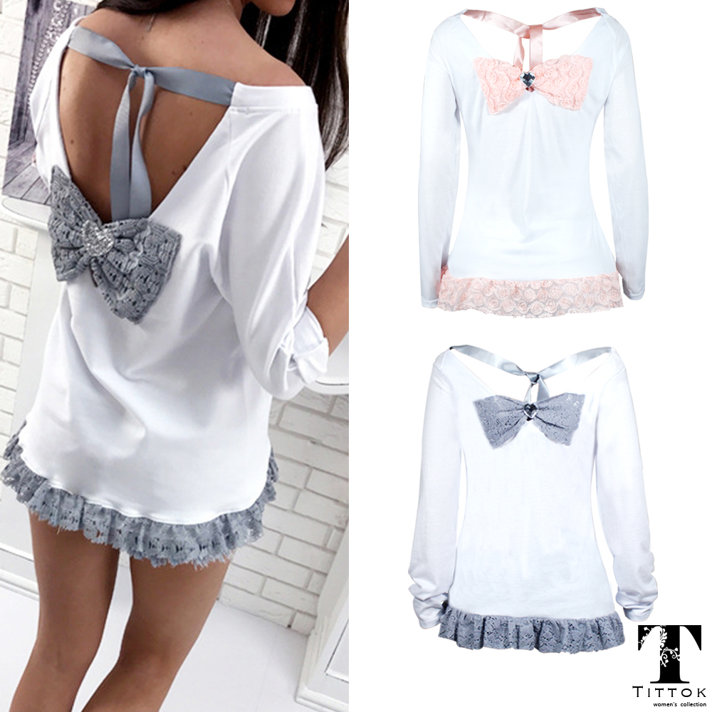 2017 Hot Sale sexy Lace grey pink bowknot O neck backless white long sleeve top tees