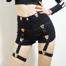 Sexy Ladies Hot Shorts Cotton High Waist Punk Style Rock Bandage Hollow Out Dance Show Party Club Skinny Short Fashion 200-955