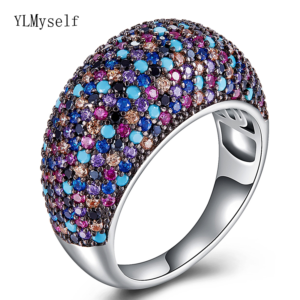 Real sterling silver metal ring beautiful Gorgeous multi colorful jewellery crystal luxury jewelry 925 silver zircon rings