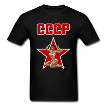 Soviet CCCP T-Shirts USSR Hammer And Sickle Army Military Tshirts Pin Up Communism Russian T Shirt Plus Size 3XL Black