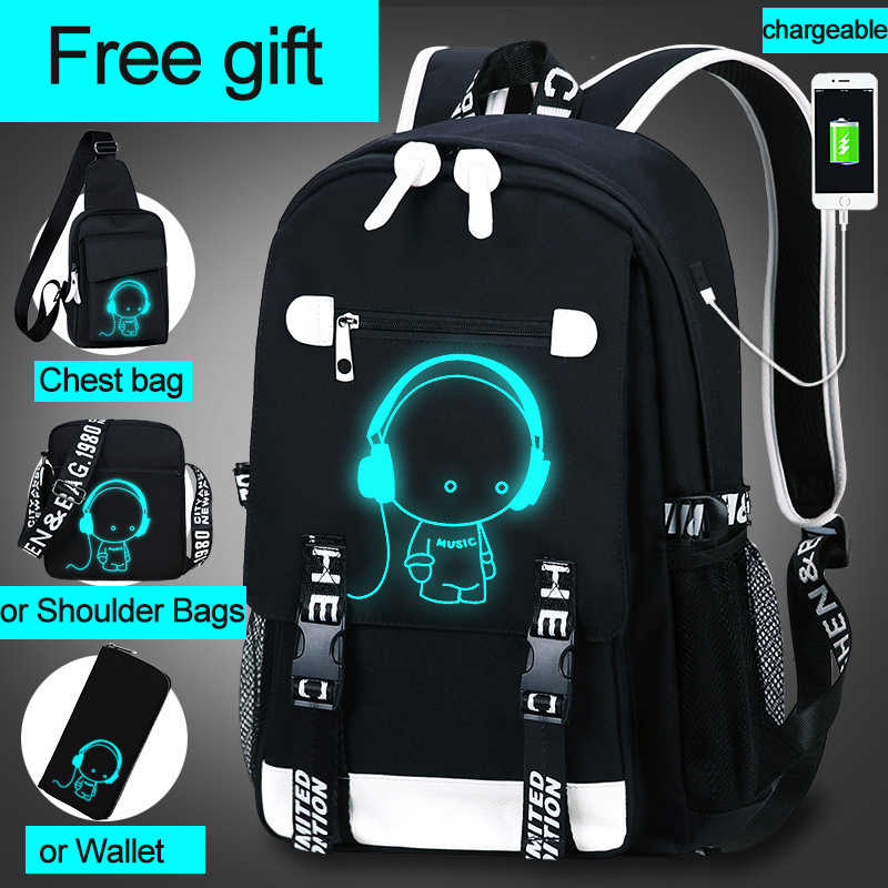 Student School Backpack 3D Luminous Animation USB Charge School bag for  Teenager boy anti-theft children's backpack schoolbags