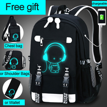 Student School Backpack 3D Luminous Animation USB Charge School bag for Teenager