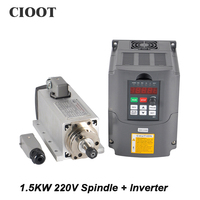 Free Shipping CNC Spindle 1 5KW 220V Air Cooled Router Spindle Motor VFD Inverter For Milling