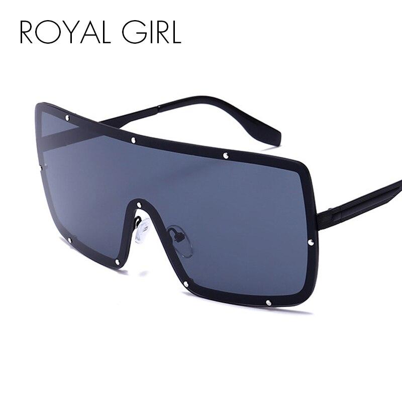 ROYAL GIRL Sexy Oversized Sunglasses Women New Designer Big Frame Rivet Mirror Sun Glasses Shades Men Windproof Eyewear ss307