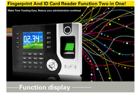 SmartYIBA 2.4Inch TFT Biometric Fingerprint Attendance Machine ID Card Reader TCP/IP Function USB Recorder Time Clock Record