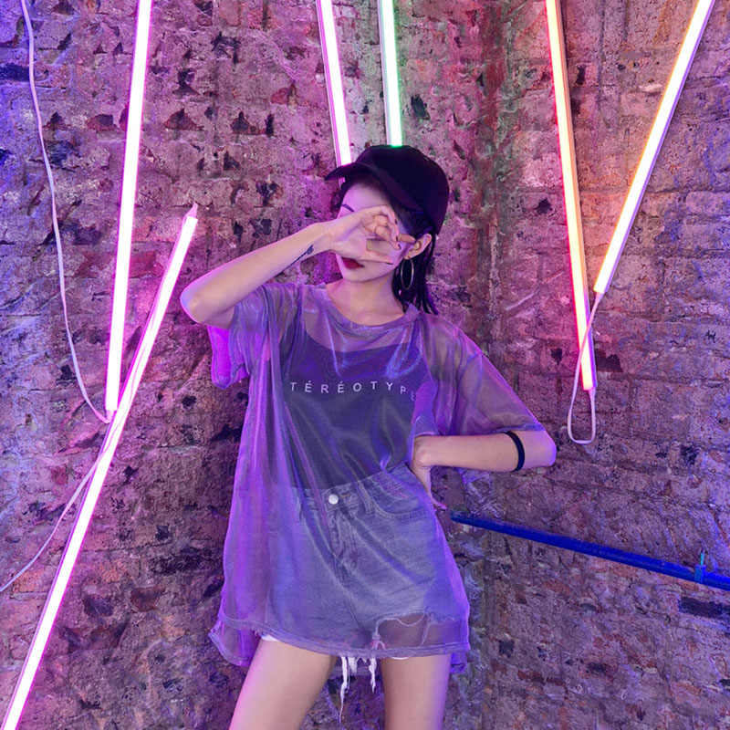 2018 2 stück!! Ulzzang Koreanische Harajuku Mesh Top Frauen Mesh T-shirt + Schwarz Camis Chic T shirts Glitter Dropshipping