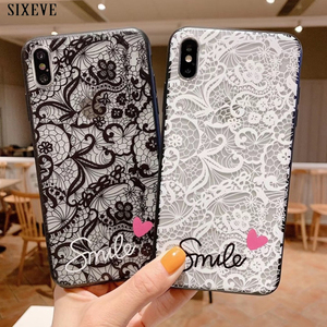 Relief Lace Case For huawei P8 P9 Lite 2017 P10 P20 P30 Plus Mate 10 20 Pro V9 honor 9 10 Play P Smart Girly Love Smile Cover(China)