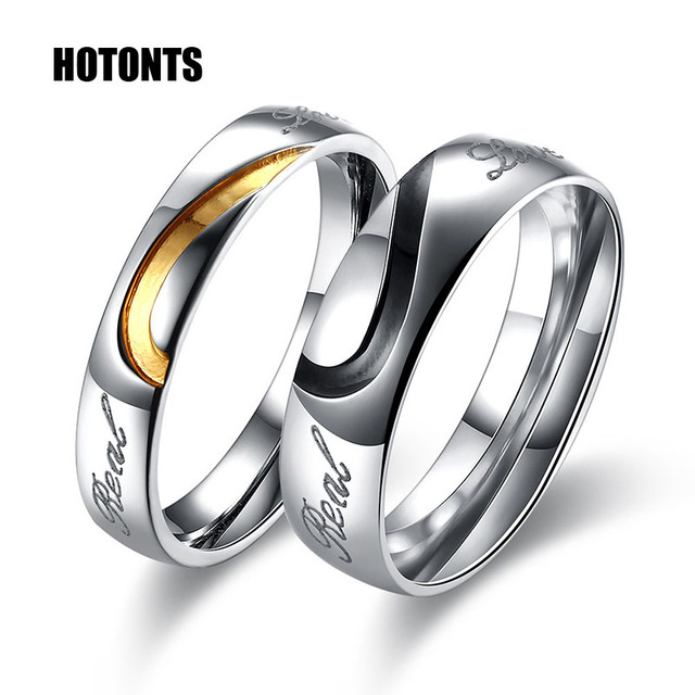Tgr125 6 G Romantic Stainless Steel Couple Heart Rings Fashion