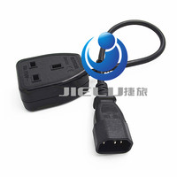 High quality PDU UPS Power Cable, IEC C14 Male plug to UK 13A Female Socket BS1363 About 30cm,5 PCS