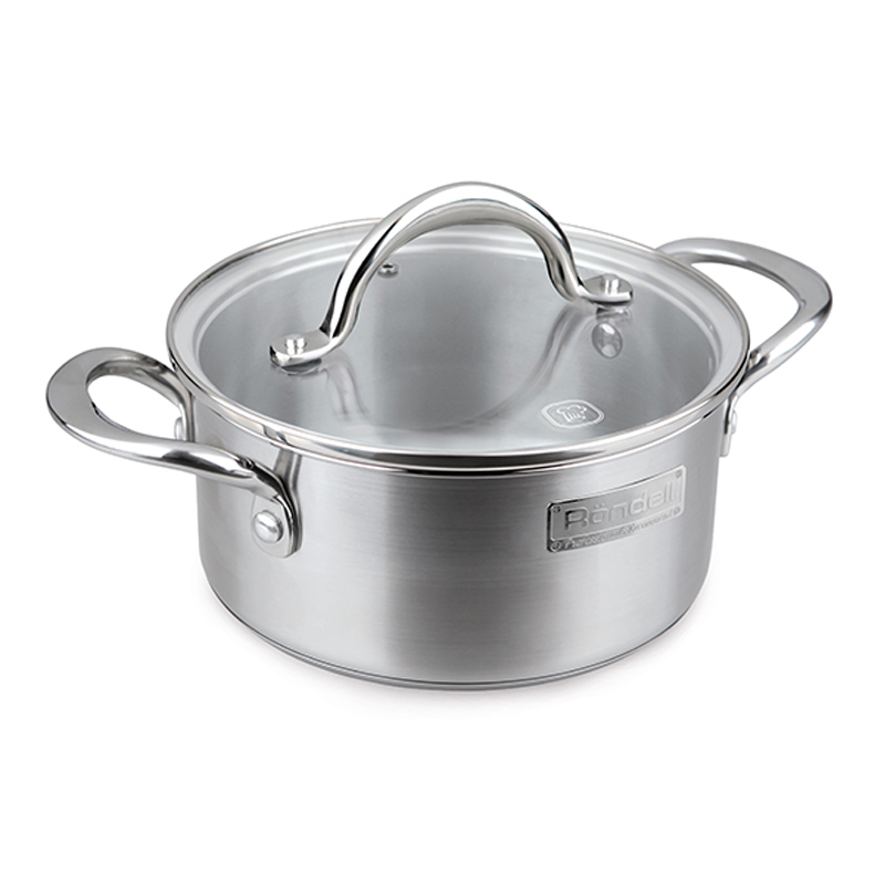 Pot with lid RONDELL RDS-729 (Diameter 20 cm, 2.7, high quality stainless steel cover from heat-resistant glass, capacity marks, suitable for all kinds of plates) цена в Москве и Питере